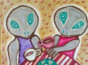 ACEO-ALIEN-Drinking-Coffee-Reptilian-Pop-Art-Original-Miniature-Painting-KSAMS