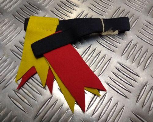 Genuine Vintage Kilt Hose Garter Tabs Flashes Yellow /& Scarlet 1960s NEW NOS