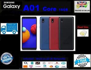 New SAMSUNG GALAXY A01 / A01 CORE 16GB Unlocked Dual SIM 4G LTE Black Blue Red