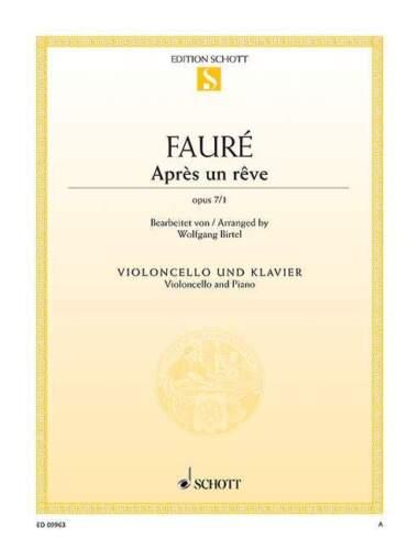Après un rêve op 7//1 Fauré cello and piano sheet music