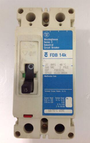 FDB2015L 600VAC CIRCUIT BREAKER 15 AMPS 2 POLE WESTINGHOUSE