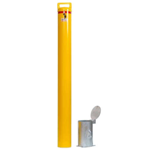 Yellow Bollard Removable KeyLock 140mm In Ground