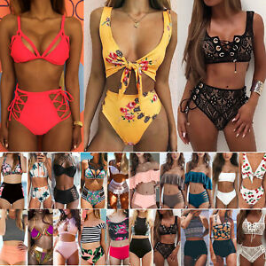 84d7492235 Image is loading Women-s-High-Waisted-Bikini-Set-Bandeau-Swimsuit-