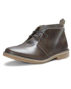 245839bcabf JACK   JONES Leather Gobi Desert Boots Mens Chocolate Brown Shoes ...