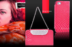 Premium-Hot-Pink-Bling-Snake-Stand-Wallet-case-cover-for-Apple-iPhone-5S