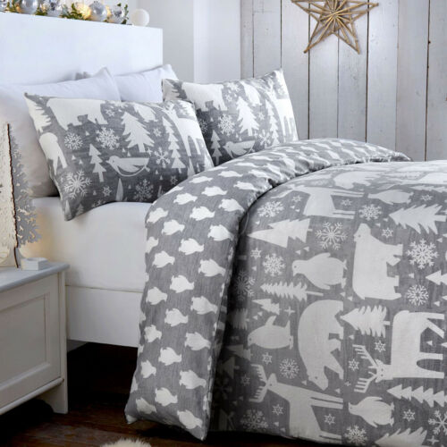 Duvet Set Warm /& Cosy Brushed Cotton Double or King Size Artic Animals