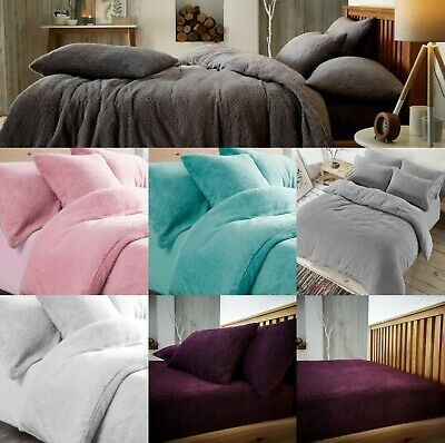 Teddy Fleece Luxury Duvet Covers Cosy Warm Soft Bedding Sets Pillow Cases SALE