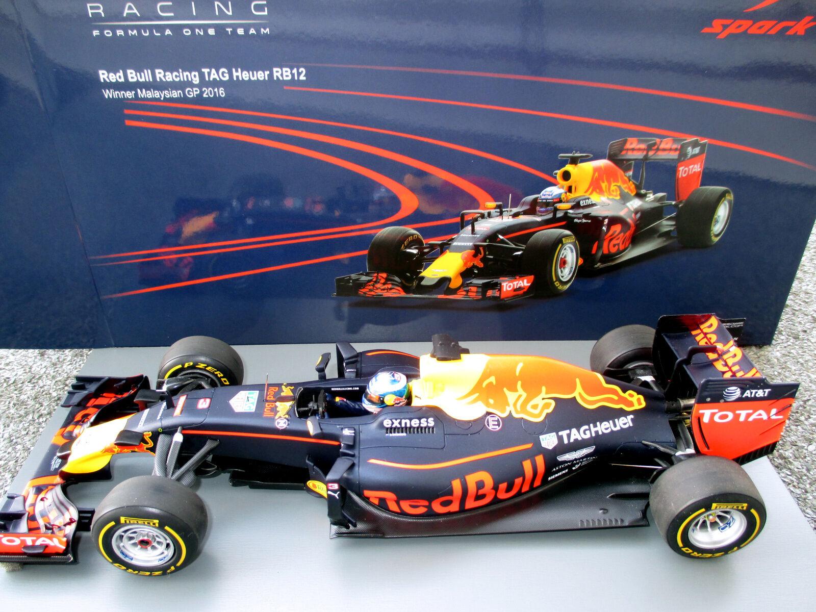 1 18 rouge BULL RACING rb12  3 D. Ricciardo Winner GP Malaisie 2016 Spark 18s251