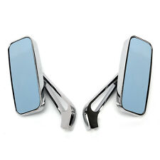 CHROME ALUMINUM SIDE MIRRORS 8MM 10MM RECTANGLE MOTORCYCLE CRUISER CHOPPER NEW