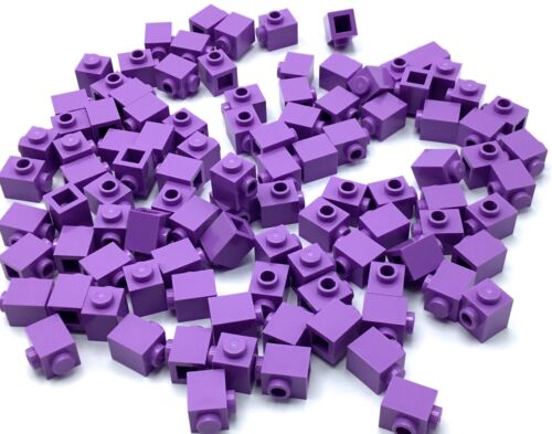 LEGO LOT OF 100 NEW PURPLE 1 X 1 BRICKS WITH SIDE DOT MODIFICATION PART PIECES