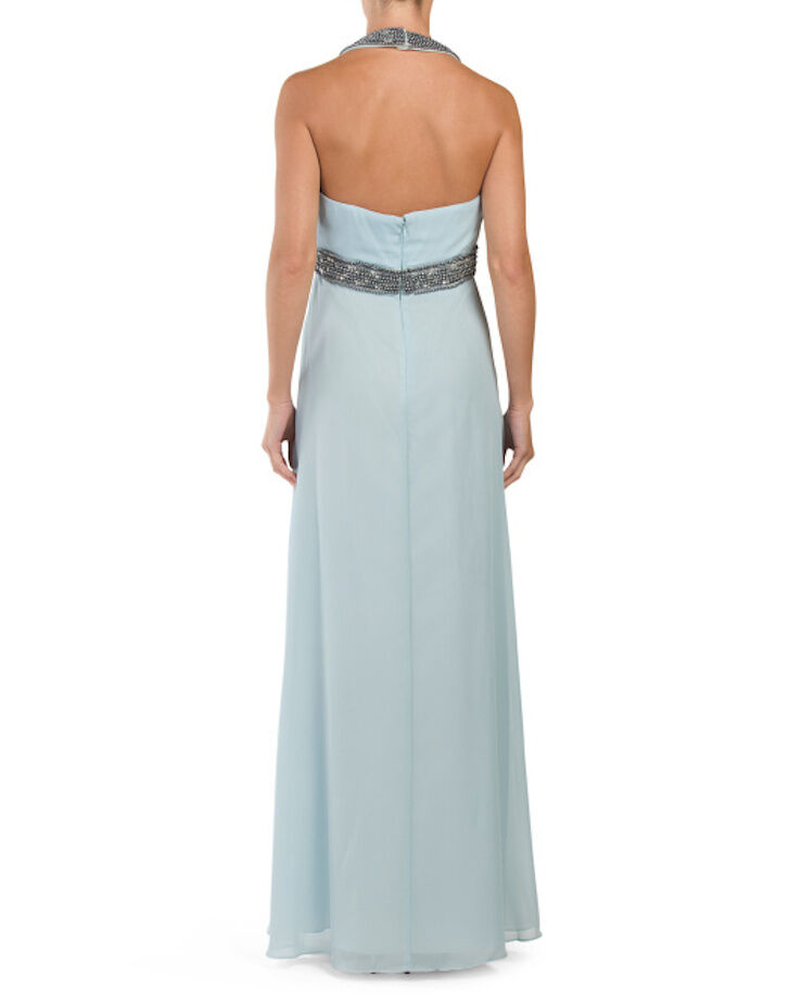 Decode 1.8 182969 182969 182969 Beaded Halter  Empire Waist Formal Light bluee Gown  258 NWT 14 751735