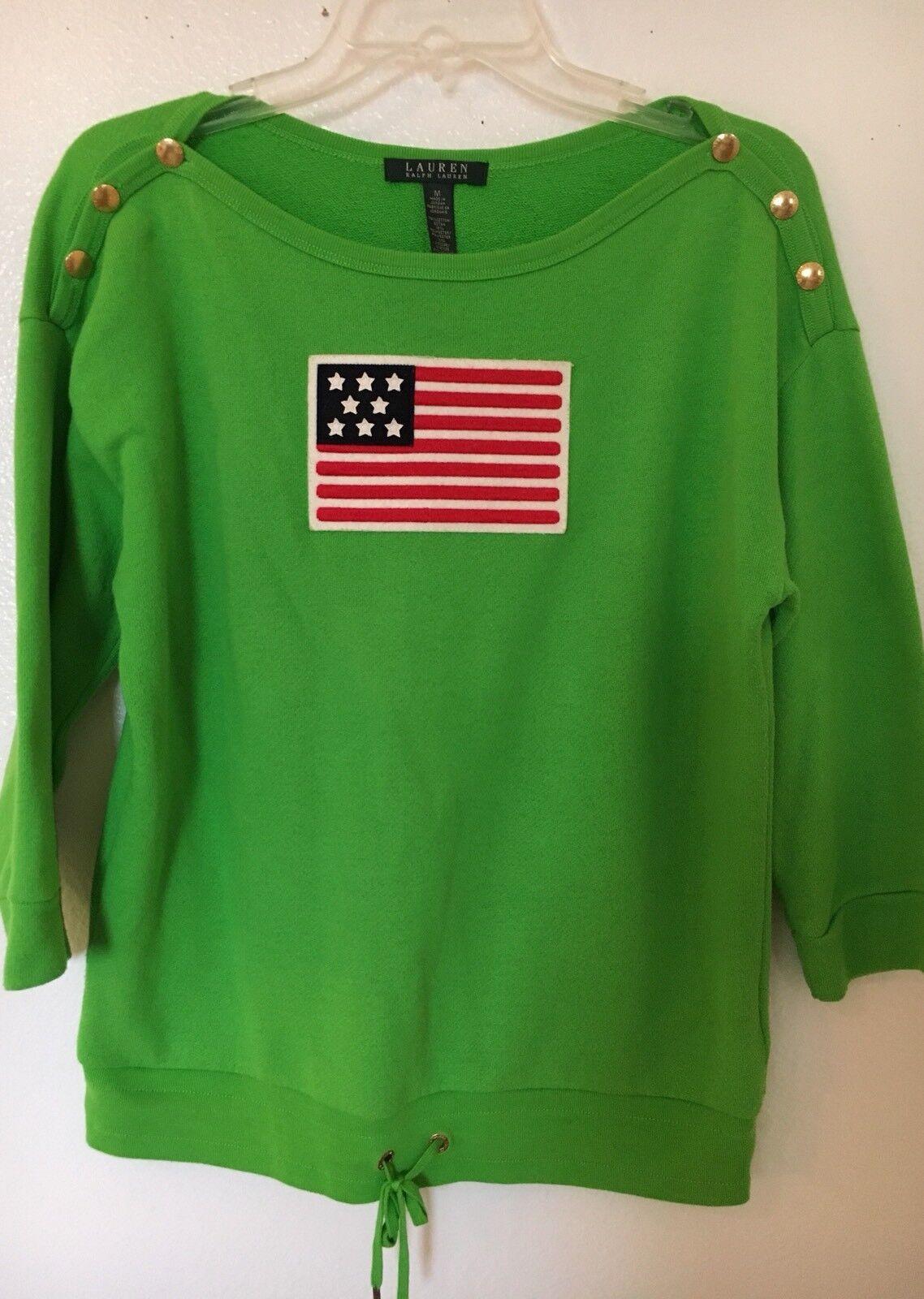 Womens Unique Lightweight  Sweater Lauren Ralph Lauren Bright Green Big Flag M