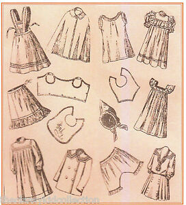 "Antique 11/"" Dolly and Her Dresses Patterns 1920s"