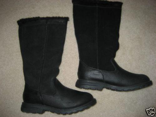 Nuevos Skechers De Cuero Negro ribete de piel sintética botas 6 M