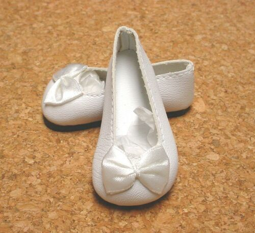 WHITE 58mm Slip on Flats with Bow Doll Shoes