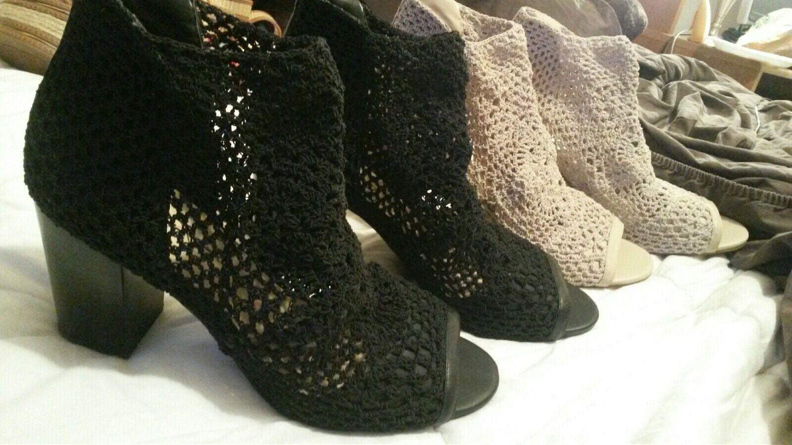 Jessica Simpson schwarz and braun tweed Stiefelie sandle schuhe 12 12 12 9d89f4