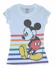 disney size XL womens juniors white heather MICKEY mouse stripes print tshirt