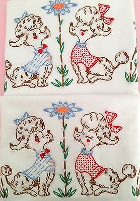 Pair Vintage Embroidered Cute Poodles Pillowcases