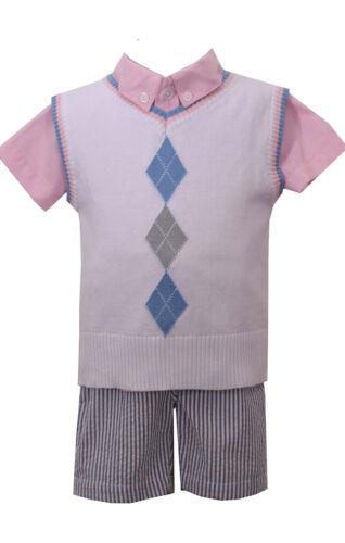 Bonnie Jean Matt' Scooter Easter Spring Boys Vest Shirt & Pant Set 12M 18M 24M