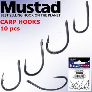 Details about Mustad Carp Fishing Hooks 10pcs Eyed Great Boilies or Bait  Presentation Barbel