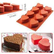 8-Cavity Heart-shaped Silicone Pudding Chocolate Mold Cupcake 3D Baking Cake Pan