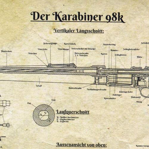 German K98 Framed Blueprint A4 Army Military Rifle Print Artwork Me Gift New