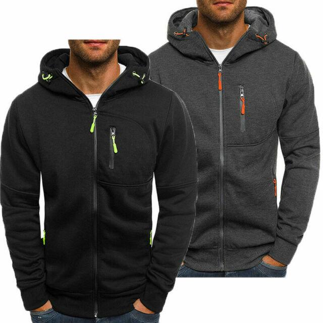 US Mens Hoodie Warm Zip up Hooded Sweatshirt Coats Jacket Outwear Sweater Jumper