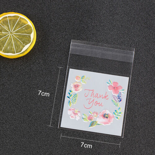100x Creative Clear Self-adhesive Bags Seal Plastic Printing DIY Candy Gift Bags