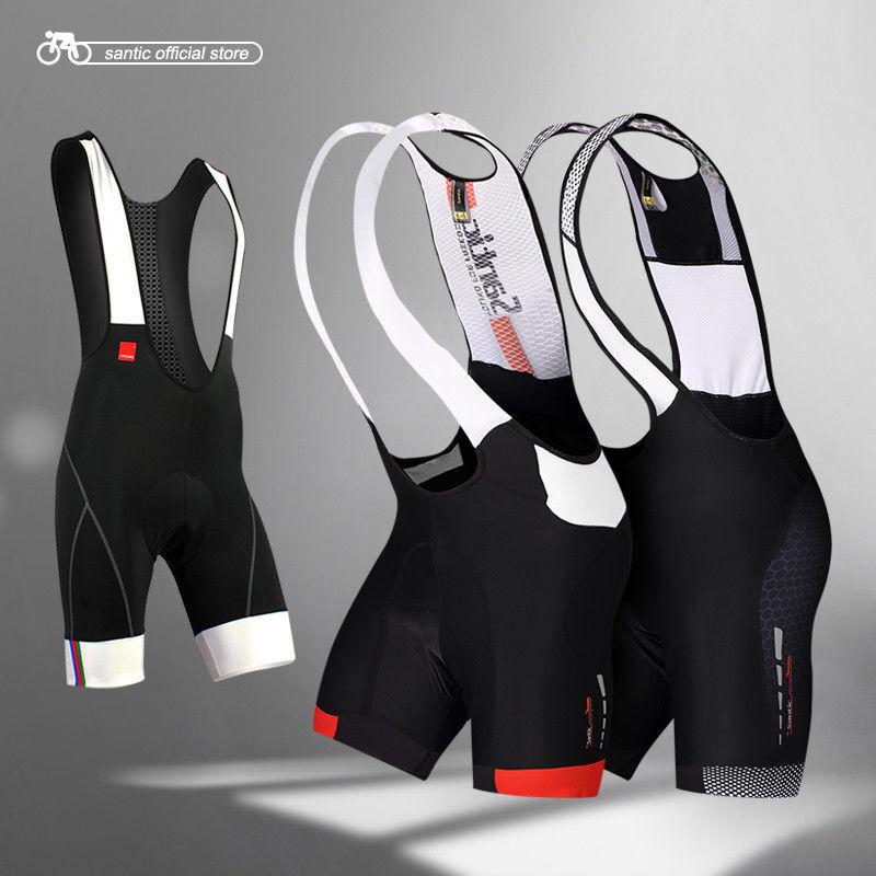 Santic Men Cycling MTB Shorts Bib Shorts Breathable Mesh Bibs Padded Pants