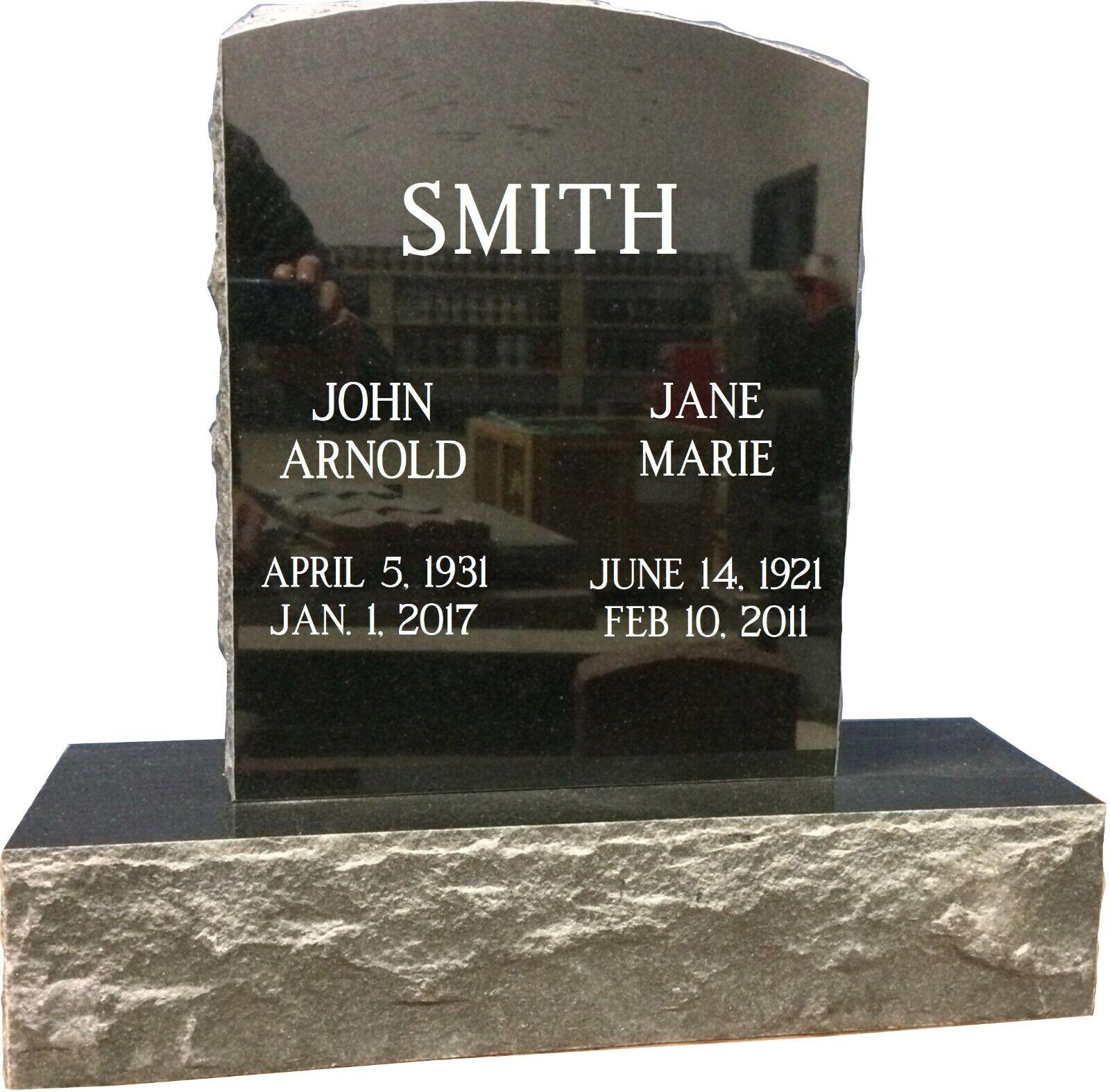 9 x 14  x 2 Black Granite Memorial Stone