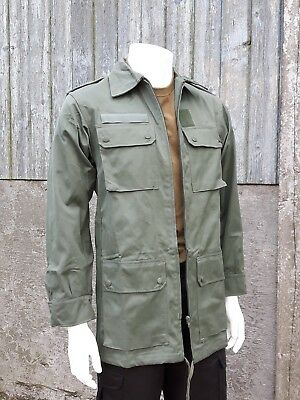 MEN VINTAGE GREEN ARMY JACKET FRENCH  COAT MILITARY OLIVE GENUINE SURPLUS SUMMER