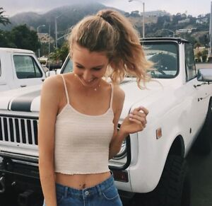 6498754ff78 Image is loading New-Brandy-Melville-yellow-crop-smocked-izzy-tank-
