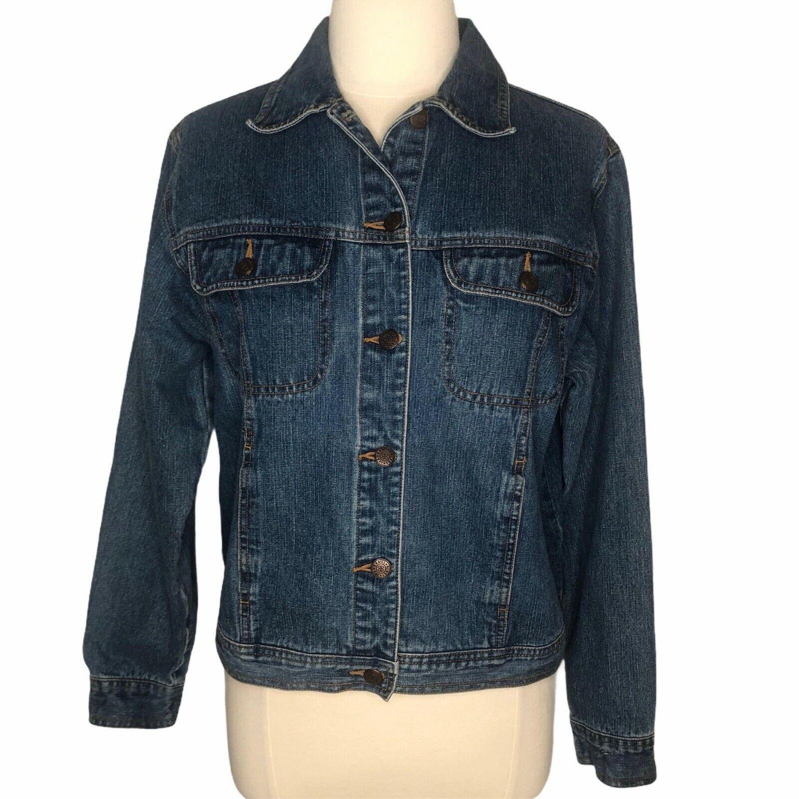 Bill Blass jean jacket denium LS front button medium
