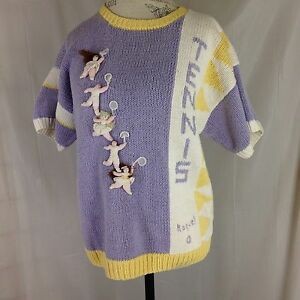 Ladies-Lavender-Pullover-Tennis-Sweater-Size-L-by-Raquel-Collection-100-Cotton