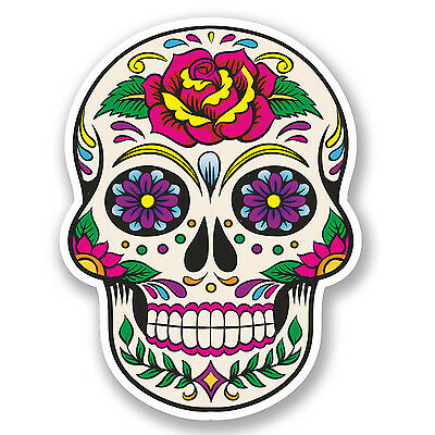 2 x Sugar Skull Vinyl Sticker Decal Mexican Spanish Mexico Day of the Dead #5670