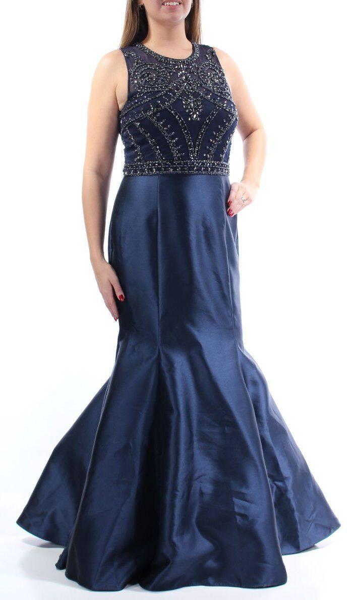 289 Xscape Navy bluee Taffeta Beaded Mermaid Prom Formal Gown 10 NWT X230