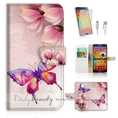 ( For Samsung Note 4 ) Wallet Case Cover! P0901 Butterfly