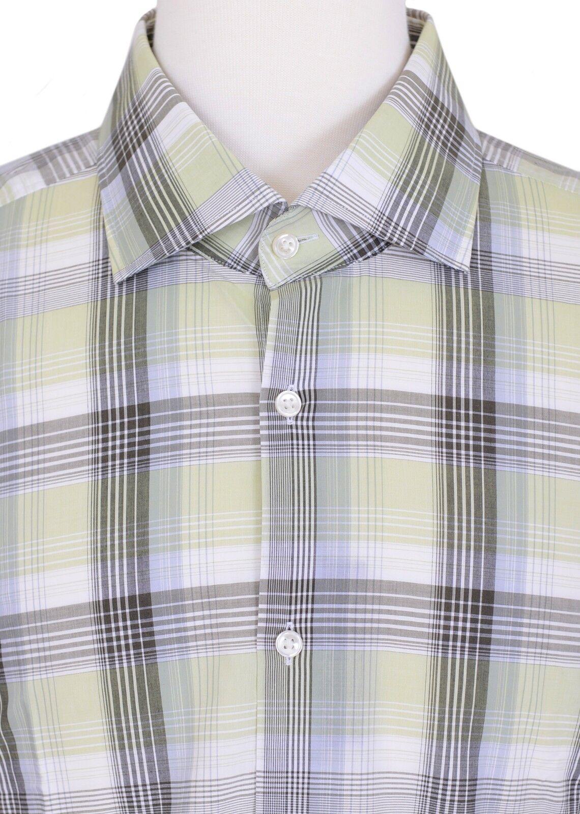 Hugo Boss Jaron US Slim Fit Italian Fabric Green Plaid Dress Shirt 16 36 37