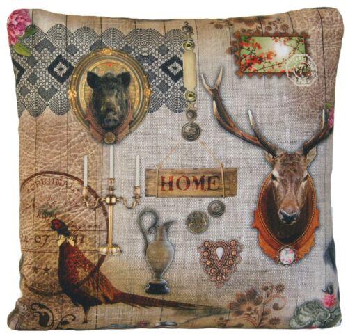 Pavillon de chasse Housse de Coussin Gris Taie d/'oreiller Faisan sanglier Vintage Deer B