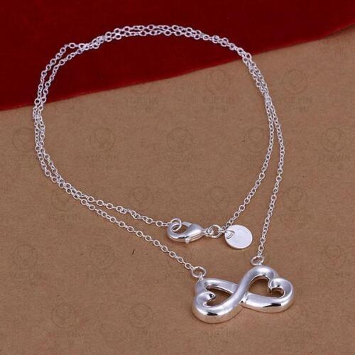 ASAMO Damen Halskette mit Infinity Anhänger 925 Sterling Silber plattiert HA1148