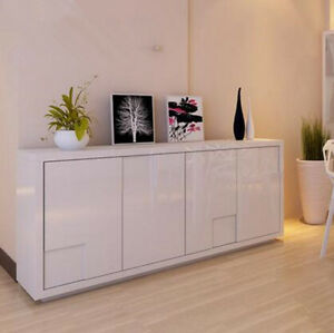 Remarkable Details About New High Gloss White Modern Sideboard Buffet Cabinet Hall Table With Large Space Home Interior And Landscaping Ologienasavecom