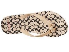 992741818dc4b7 Coach Size 6 Womens Ivory black Large Check Amel Bow Rubber Sandal ...