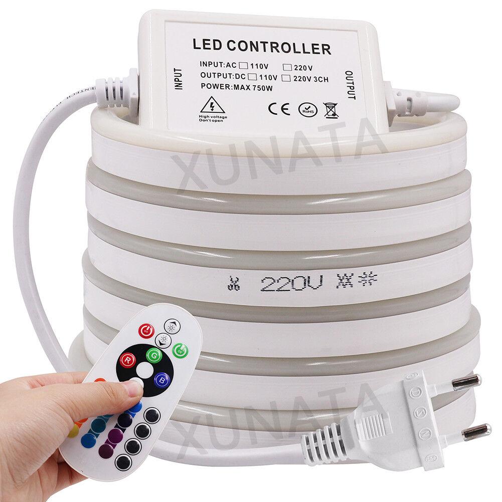 Rgb LED Tira Luces 5050 SMD a prueba de agua Neón IP68 AC 220V+ UE control remoto