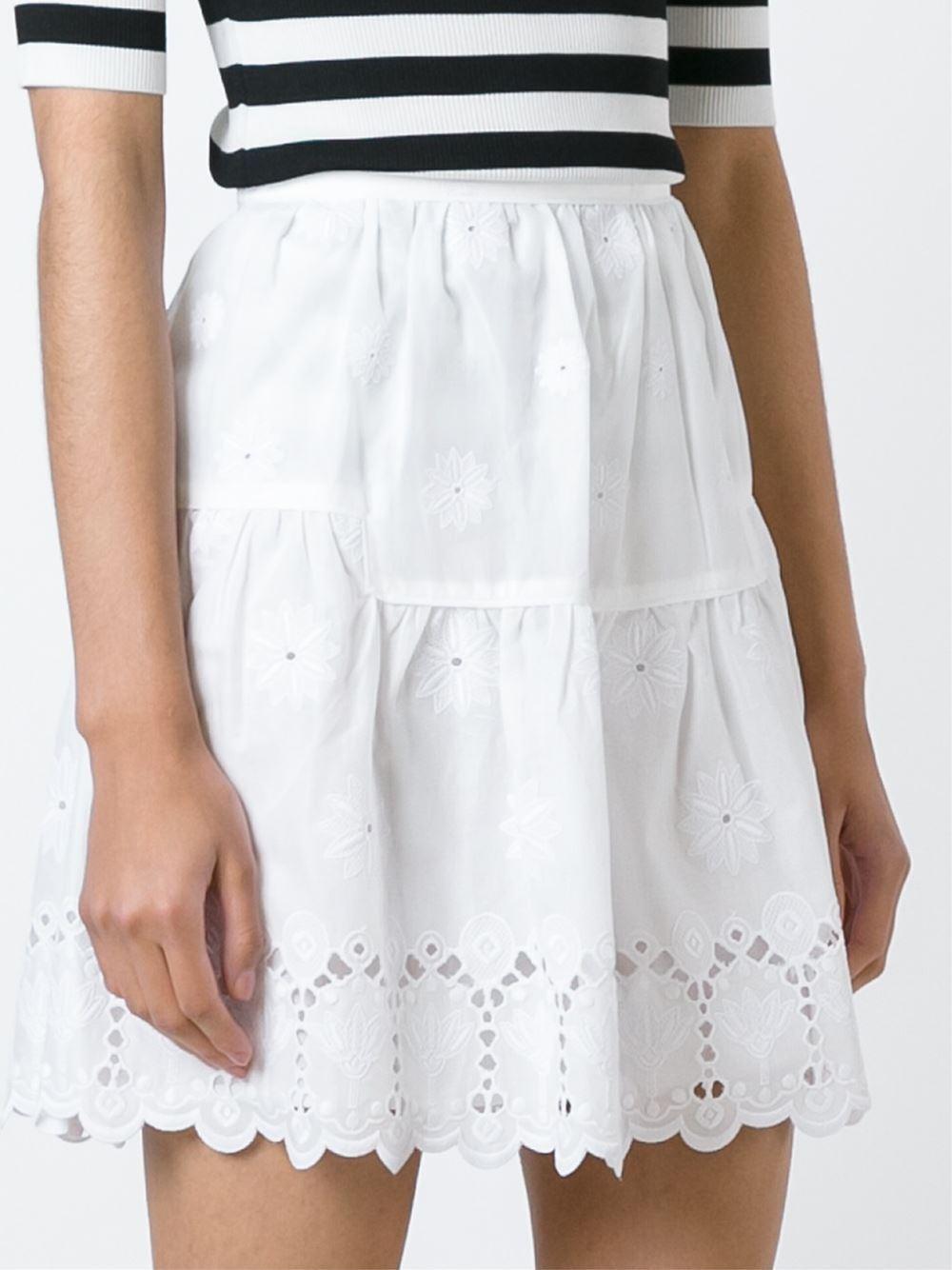 268 NEW Diane von Furstenberg DVF Sadey Cotton Eyelet Full Mini Skirt White 2 4