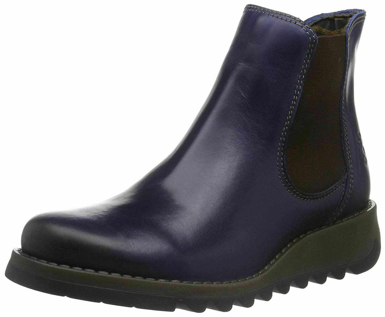 Blau Salv london Leather Fly Stiefel Ankle damen