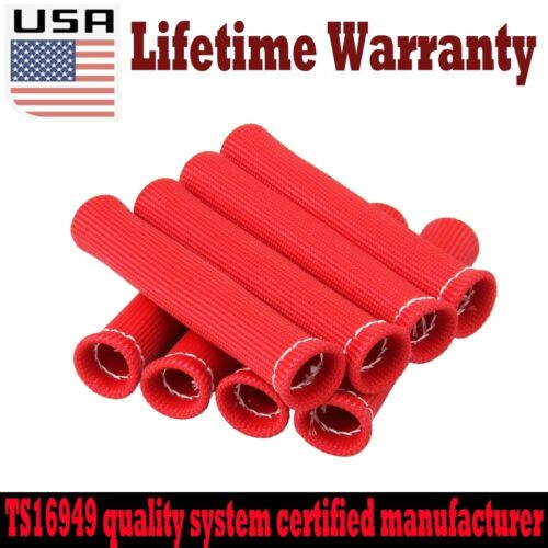 """SET OF 8 Red 6/"""" HIGH HEAT SHIELD ENGINE SPARK PLUG WIRE BOOT PROTECTOR SLEEVE US"""