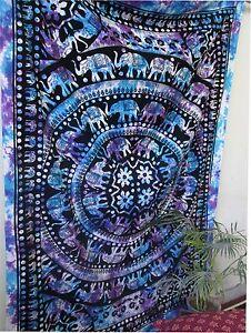 Psychedelic-Hippie-Mandala-Tie-Dye-Elephan-Wall-Hanging-Bedspread-Tapestry-Throw