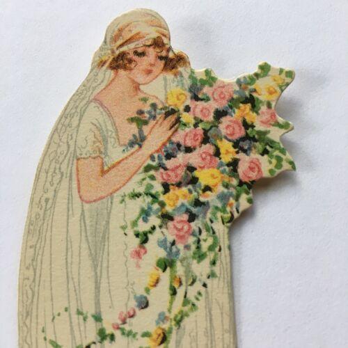 Vintage Art Deco Place Card Wedding Bride Bridal Bouquet 1920s Unused Clark