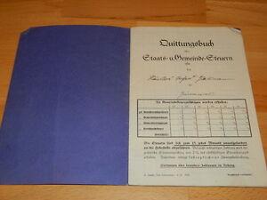 Quittungsbuch über Staats- und Gemeinde Steuern von 1936 | eBay