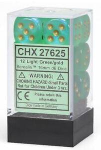 Chessex-16mm-D6-De-Borealis-Vert-Clair-Dore-Points-Brique-de-12